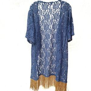 LuLaRoe Lace and Fringe Kimono / Cover up kimono